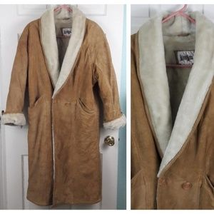 Neiman Marcus Long Suede Leather Sherpa Coat